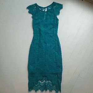 Modcloth teal lace overlay dress by Soieblu small